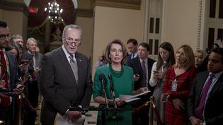 Nancy Pelosi (à droite), cheffe des démocrates à la Chambre des représentants, et Chuck Schumer, son homologue au Sénat, lors d'une conférence de presse à Washington (Etats-Unis), le 20 décembre 2018. (TASOS KATOPODIS / GETTY IMAGES NORTH AMERICA / AFP)