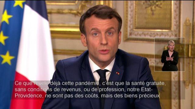 Coronavirus : Emmanuel Macron défend l'Etat-providence