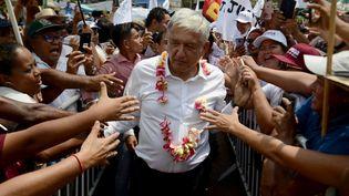 Andrés Manuel López Obrador, encore candidat à la présidentielle en mai dernier, rencontrait des militants durant un meeting au Mexique. (FRANCISCO ROBLES / AFP)