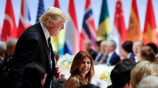 Le président des Etats-Unis, Donald Trump, le 7 juillet 2017 au dîner du G20 à Hambourg (Allemagne). (KAY NIETFELD / DPA / AFP)