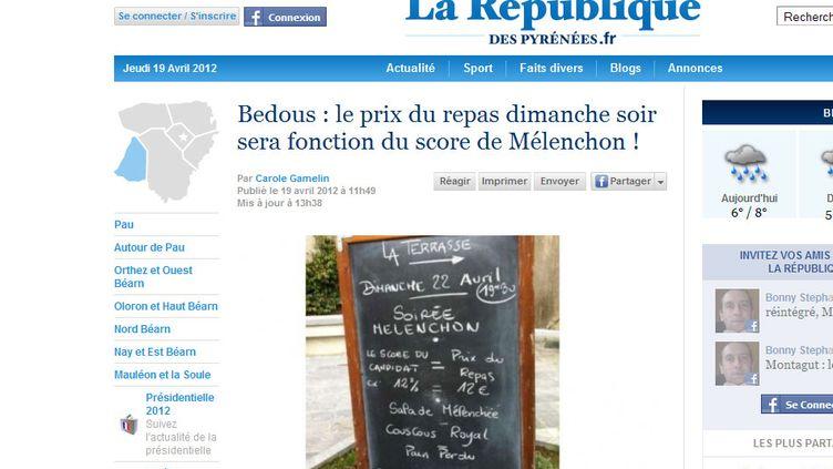 L'article sur le menu Mélenchon, site de la République des pyrénées (La République des pyrénées)