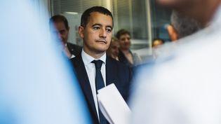 Le ministre de l'Action et des Comptes publics, Gérald Darmanin,à la direction régionale des douanes d'Aix-en-Provence (Bouches-du-Rhône), le 20 juillet 2018. (TH?O GIACOMETTI / HANS LUCAS)