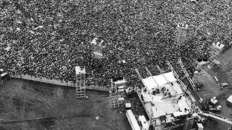 Vue aérienne du Festival de Woodstock, 1er août 1969, qui s'était déroulé àBethel, dans l'Etat de New York (MARTY LEDERHANDLER/AP/SIPA / AP)