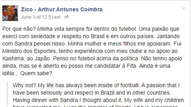 """(Après la démission de Sepp Blatter, Zico s'était demandé """"pourquoi pas ?"""" sur sa page Facebook, en référence à l'éventualité d'une candidature à la Fifa)"""