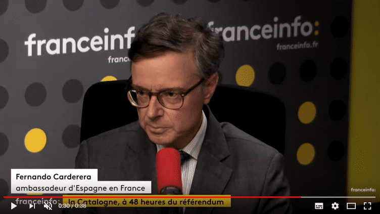 Fernando Carderera, l'ambassadeur d'Espagne en France, à franceinfo le 29 septembre 2017. (RADIO FRANCE / FRANCEINFO)