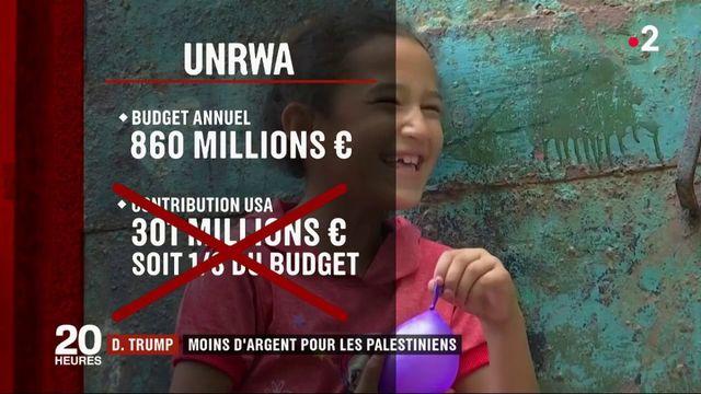 Donald Trump : moins d'argent pour les Palestiniens