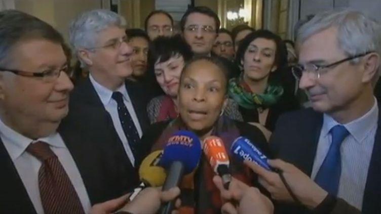 Christiane Taubira, la garde des Sceaux, le 9 février 2013 à l'issue des débats sur le projet de loi sur le mariage pour tous à l'Assemblée nationale. (CAPTURE FRANCETV INFO)