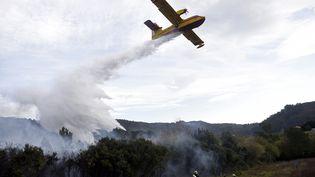 En Espagne,les pompiers luttaient lundi contre près de 120 incendies de forêt dans le nord du pays, concentrés en Cantabrie, au Pays Basque (sur la photo) et dans les Asturies, favorisés par la douceur de l'hiver et le manque de pluie. (ANDER GILLENEA / AFP)
