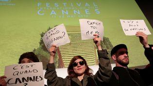 Conférence de presse du festival de Cannes, intervention d'intermittents, avril 2016  (PHOTOPQR/LE PARISIEN/MAXPPP)