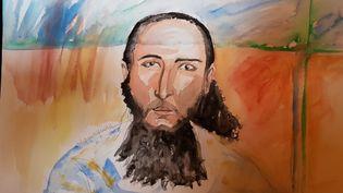 Abdelkader Merah dans le box des accusés au premier jour de son procès devant la cour d'assises spécialement composée, à Paris, le 2 octobre 2017. (ELISABETH DE POURQUERY / FRANCEINFO)