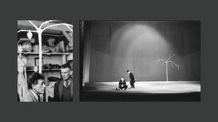 """A gauche, Samuel Beckett et Alberto Giacometti dans l'atelier de Giacometti, 1961, Photo Georges Pierre, DR, Fondation Giacometti - A droite, Samuel Beckett, """"En attendant Godot"""" au Théâtre de l'Odéon, 1961 Photo : Roger Pic Fondation Giacometti (A droite et à gauche : © Succession Alberto Giacometti (Fondation Giacometti + Adagp) 2020)"""