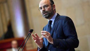 Edouard Philippe devant le Conseil économique, social et environnemental, à Paris, le 12 mars 2019. (BERTRAND GUAY / AFP)
