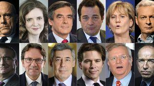 Montage des différents candidats à la primaire de la droite, réalisé le 13 juin 2016. (MEHDI FEDOUACH / AFP)