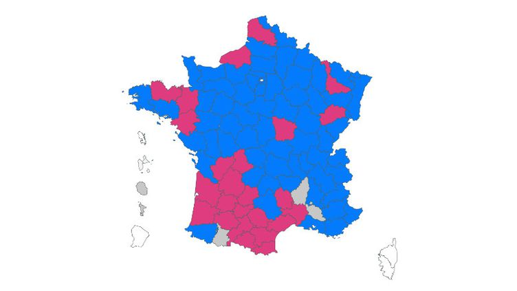 Carte des résultats des élections départementales 2021 par département (FRANCEINFO)
