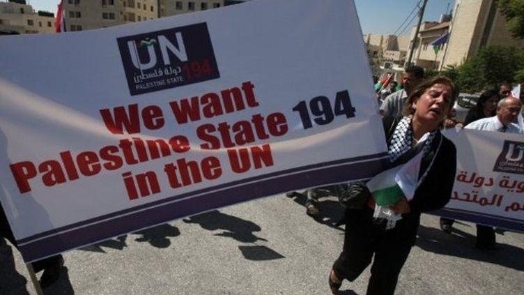 Manifestation devant le bureau de l'Onu à Ramallah pour réclamer la création d'un Etat palestinien (8 septembre 2011) (AFP / Abbas Momani)