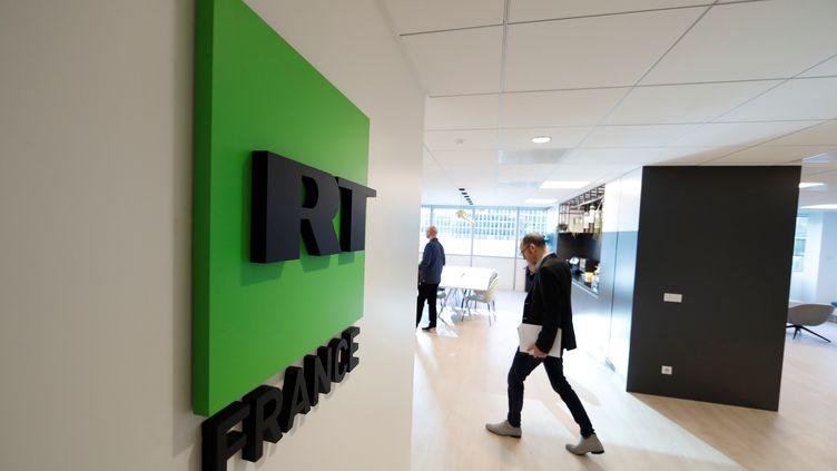 Les studios français de la chaîne russe RT, à Boulogne-Billancourt (Hauts-de-Seine), le 18 décembre 2017. (GONZALO FUENTES / REUTERS)