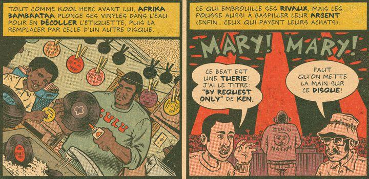 "Afrika Bambaataa ruse pour dissimuler ses beats dans ""Hip-Hop Family Tree"" (Tome 1).  (Ed Piskor)"