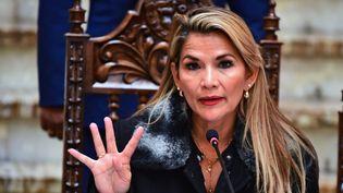 La présidente bolivienne par intérim, Jeanine Añez, lors d'une conférence de presse organisée àLaPaz, le 15novembre 2019. (RONALDO SCHEMIDT / AFP)