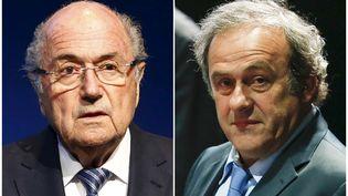 Sepp Blatter, le 2 juin 2015, et Michel Platini, le 29 mai 2015, à Zurich (Suisse). (RUBEN SPRICH / REUTERS)