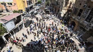 Une manifestation contre le gouvernement libanais dans le centre-ville de Beyrouth jeudi 6 août. (/ AFP)