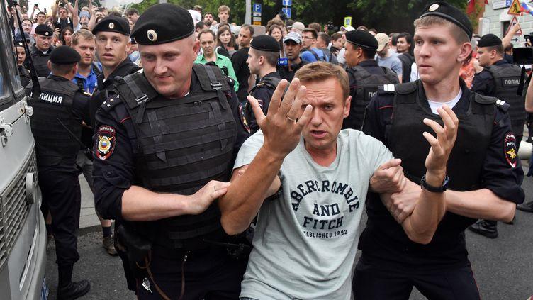 La police russe a réprimé la manifestation de soutien au journaliste Ivan Golounov, le 12 juin 2019 à Moscou. (VASILY MAXIMOV / AFP)
