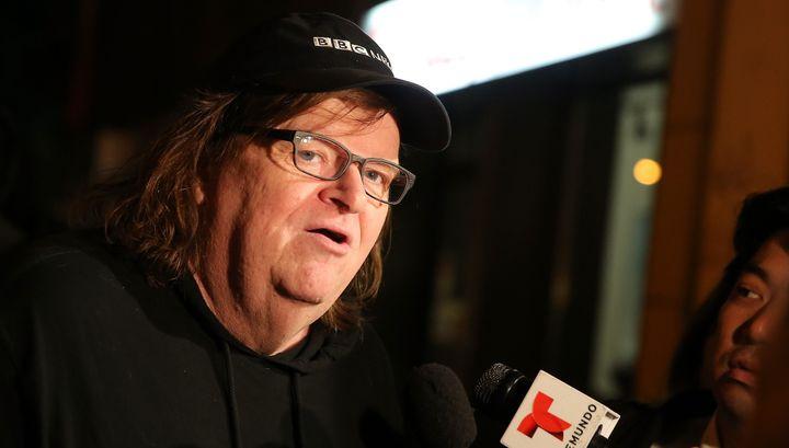 Michael Moore interviewé avant l'avant-première de Trumpland, octobre 2016  (Jemal Countess / GETTY IMAGES NORTH AMERICA / AFP)