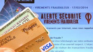 Des cartes bancaires face à un écran d'ordinateur où est inscrit une mise en garde. (DENIS CHARLET / AFP)