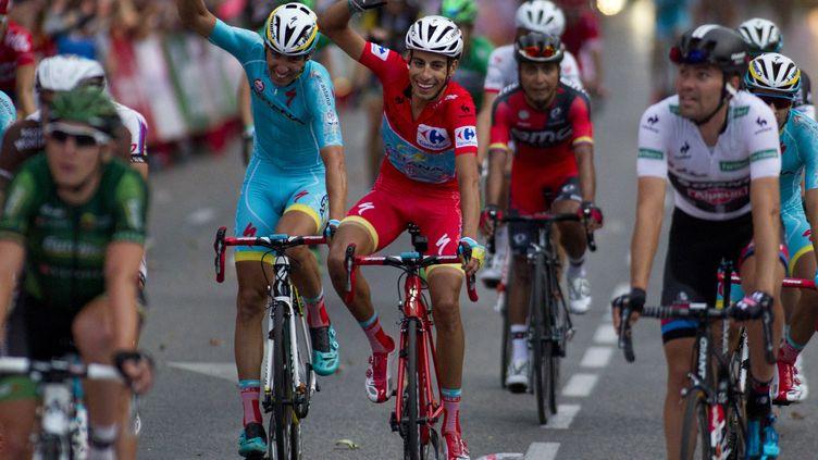 Fabio Aru (Astana), vainqueur du Tour d'Espagne 2015, à l'arrivée de la dernière étape.  (JAIME REINA / AFP)
