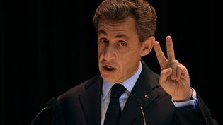 Nicolas Sarkozy lors d'un discours à Moscou (Russie), le 29 octobre 2015. (KIRILL KUDRYAVTSEV / AFP)