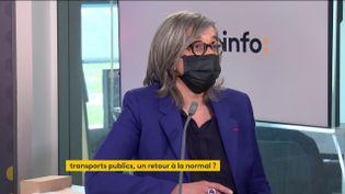 Catherine Guillouard, PDG du groupe RATP, était l'invitée éco de franceinfo mardi 11 mai 2021. (FRANCEINFO / RADIOFRANCE)