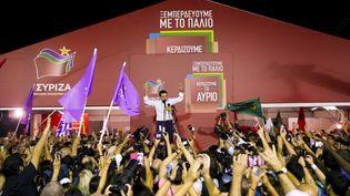 Le leader de Syriza, Alexis Tsipras, s'exprime face à ses militants, dimanche 20 septembre 2015 à Athènes (Grèce). (ALKIS KONSTANTINIDIS / REUTERS)