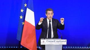 Nicolas Sarkozy lors de son discours pendant le conseil national du parti Les Républicains, à la Maison de la Mutualité, à Paris, le 7 novembre 2015. (ALAIN JOCARD / AFP)