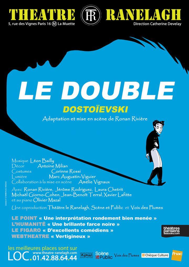 """L'affiche de """"Le Double"""", d'après Fiodor Dostoëivski, adaptation par Ronan Rivière, au Théâtre Ranelagh à Paris jusqu'au 12 janvier 2020. (Théâtre Ranelagh)"""