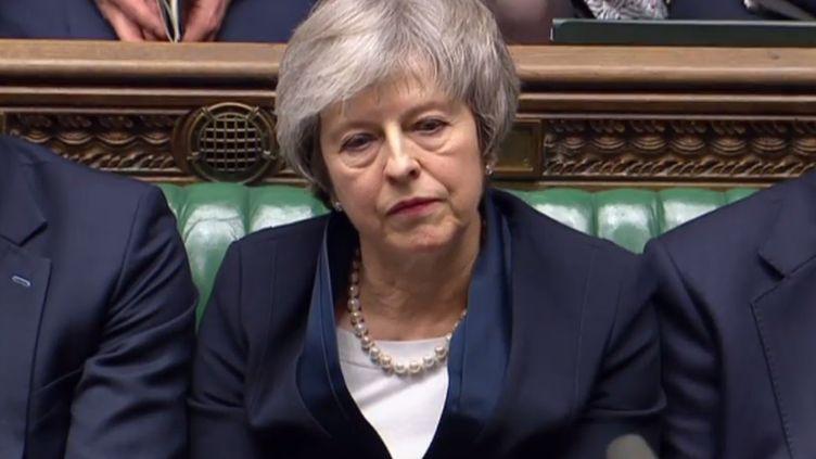 La Première ministre Theresa Mayau Parlement britannique, à Londres, le 15 janvier 2019. (PRU / AFP)