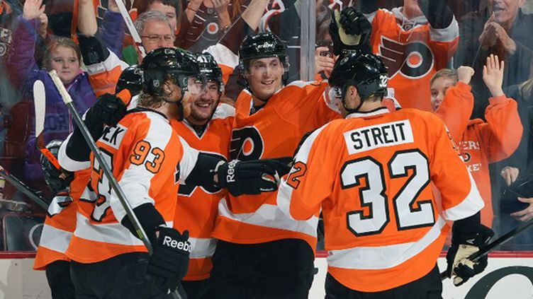La joie des Philadelphia Flyers (DREW HALLOWELL / GETTY IMAGES NORTH AMERICA)