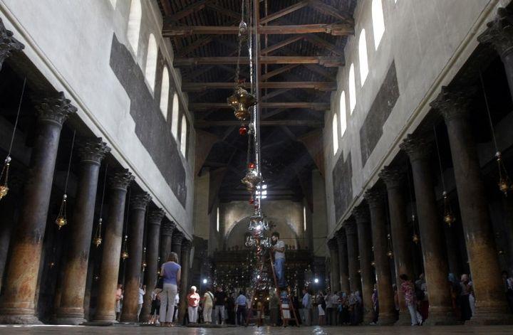 Le toit de la basilique de la Nativité à Bethléem avant restauration (2012)  (MUSA AL SHAER / AFP)
