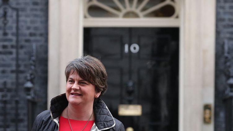 La Première ministre d'Irlande du Nord Arlene Foster devant le 10 Downing Street à Londres, le 21 novembre 2017. (DANIEL LEAL-OLIVAS / AFP)