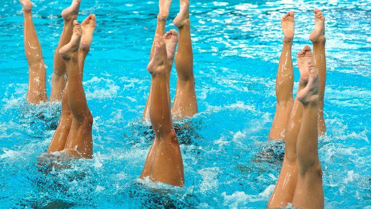 Compétition de natation synchronisée, à Kuala Lumpur, en Malaisie, le 15 août 2017. (GETTY IMAGES)