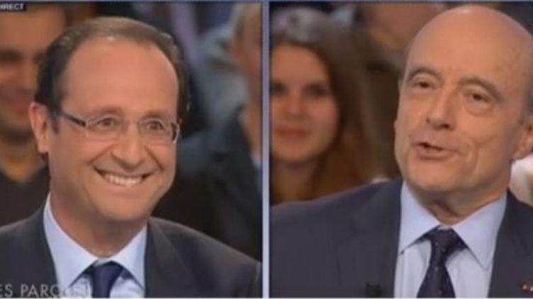 François Hollande face à Alain Juppé, le 26 janvier 2012, sur France 2. (FTVi / FRANCE 2)