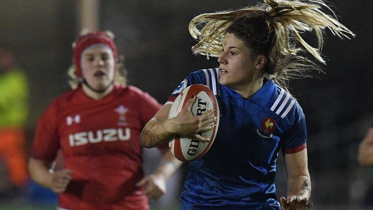 Gaëlle Hermet capitaine de l'Équipe de France féminine de rugby, le 16 mars 2018. (PAUL ELLIS / AFP)