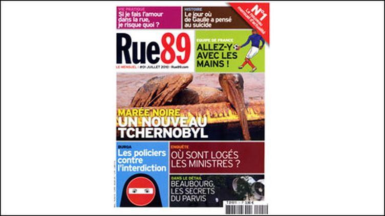 """La première une du """"Mensuel"""" Rue 89, rendue publique par le directeur de la publication Pierre Haski"""