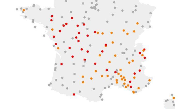 Carte des records de températures pendant l'été 2019. (FRANCEINFO)