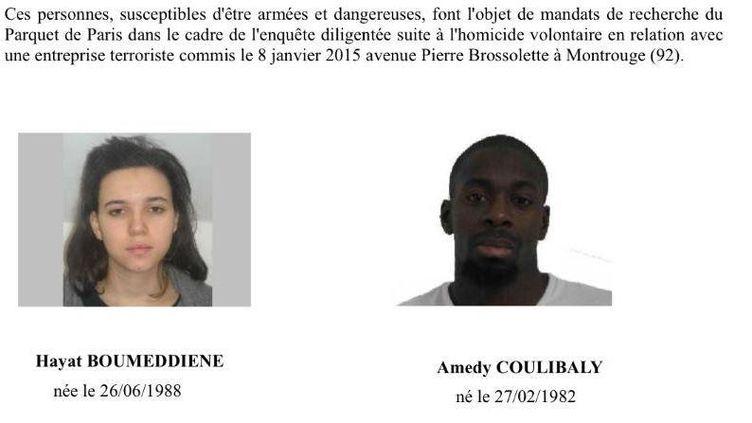 L'avis de recherche de Hayat Boumeddiene et Amedy Coulibaly diffusé par la police, le 9 janvier 2015. (POLICE)