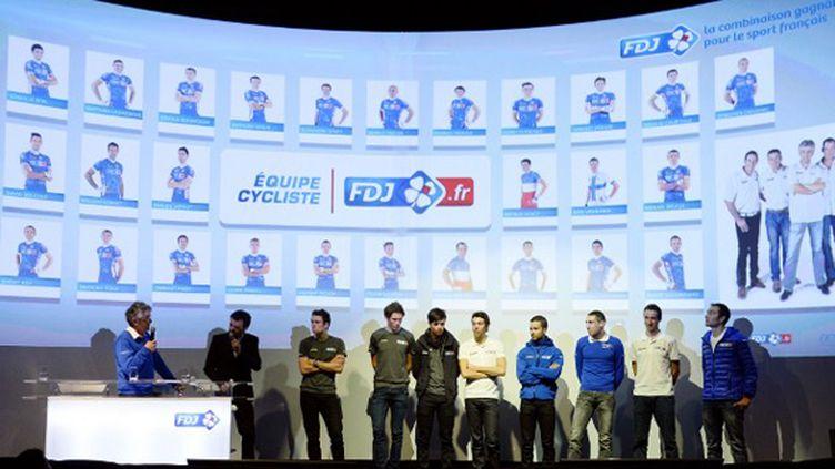 Marc Madiot présente ses coueurs de la FDJ.fr (BERTRAND GUAY / AFP)