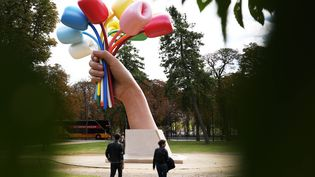 "Sculpture ""Bouquet de Tulipes"" (GAO JING / XINHUA)"