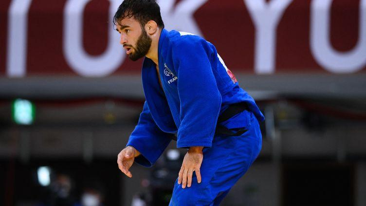Le judoka français Luka Mkheidze aux Jeux olympiques de Tokyo, le 24 juillet 2021. (FRANCK FIFE / AFP)