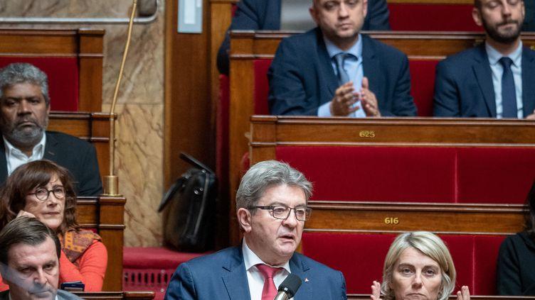 Jean-Luc Mélenchon, le 29 octobre 2019 à l'Assemblée nationale. (CARINE SCHMITT / HANS LUCAS / AFP)