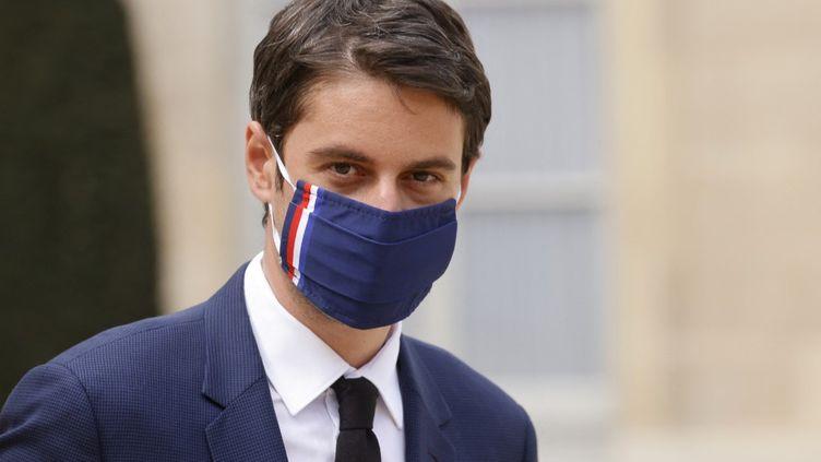 Le porte-parole du gouvernement Gabriel Attal, le 8 avril au palais de l'Elysée, à Paris. (LUDOVIC MARIN / AFP)