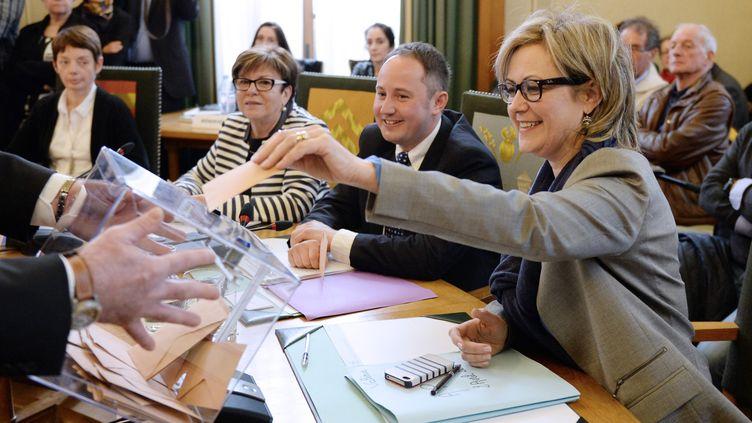 La présidente du conseil départemental de la Creuse, Valérie Simonet (Les Républicains), à Guéret, le 2 avril 2015. (PASCAL LACHENAUD / AFP)