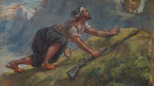 """""""Arabe à l'affût"""" (détail), pastel de Ferdinand-Victor-Eugène Delacroix (1798-1863).Dimension 24 x 31,1 cm. Acquis à Drouot par Edgar Degas en avril 1898. (© CHRISTIE'S IMAGES LIMITED 2021)"""